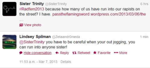 "Enter self-proclaimed feminist ""Lindsey Spilman"" with a thinly-veiled threat"